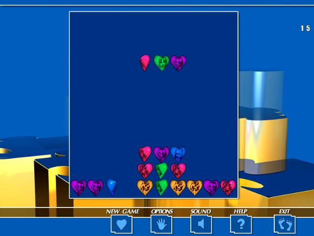 Tetris-like game with a touch of match-3. Be clever while collecting hearts of the same colors. Nice music and amazing graphics give you a complete sense of fulfillment. Three levels of difficulty, ergonomic interface.